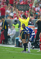 July 24, 2010 FC Dallas forward Jeff Cunningham #9 gets ready to come into the game as the fans at BMO Field react during a game between FC Dallas and Toronto FC at BMO Field in Toronto..Final score was 1-1.