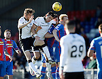 Inverness Caledonian Thistle v St Johnstone...24.10.15  SPFL  Tulloch Stadium, Inverness<br /> Murray Davidson and Graham Cummins challenge Carl Tremarco<br /> Picture by Graeme Hart.<br /> Copyright Perthshire Picture Agency<br /> Tel: 01738 623350  Mobile: 07990 594431