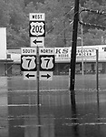 Floodwaters of the Housatonic River at the intersection of routes 7 and 202 in New Milford in 1984.