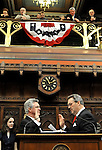 HARTFORD, CT- 07 JANUARY 2008 --010709JS15-Rep. Christopher G. Donovan, D-Meriden, left, is sworn in as the new Speaker of the House by outgoing speaker James A. Amann Wednesday during the opening day of the general assembly at the state Capitol in Hartford. <br /> Jim Shannon / Republican-American