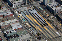 aerial photograph CalTrain station San Francisco, California