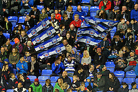 Bath supporters in the crowd wave flags in celebration. Aviva Premiership match, between London Irish and Bath Rugby on November 7, 2015 at the Madejski Stadium in Reading, England. Photo by: Patrick Khachfe / Onside Images