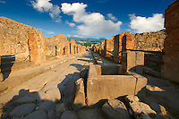Cobbled street of Pompeii archaeological site.