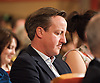 Conservative Party Conference, ICC, Birmingham, Great Britain <br /> Day 1<br /> 7th October 2012 <br /> <br /> David Cameron MP<br /> Prime Minister <br /> watching William Hague's Speech <br /> <br /> Photograph by Elliott Franks<br /> <br /> Tel 07802 537 220 <br /> elliott@elliottfranks.com<br /> <br /> &copy;2012 Elliott Franks<br /> Agency space rates apply