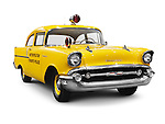 1957 Chevrolet 150 Metropolitan Toronto Police yellow classic retro car isolated on white background with clipping path