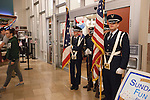 The Air Force ROTC stands by the entrance of Nelson Commons during the Veteran's Day Rememberence on November 11, 2015. Photo by Kaitlin Owens