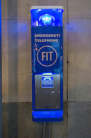 An emergency call box on the campus of the Fashion Institute of Technology (FIT) in the Chelsea neighborhood of New York on Monday, December 31, 2012. (© Richard B. Levine)