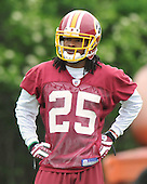Ashburn, VA - May 2, 2009 -- Cornerback Kevin Barnes (25), the Washington Redskins third round draft choice out of the University of Maryland, watches as his teammates participate in the 2009 mini-camp at Redskins Park in Ashburn Virginia on Saturday, May 2, 2008..Credit: Ron Sachs / CNP