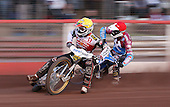 Heat 15: Hans Andersen (yellow) and Kauko Nieminen (red) - Lakeside Hammers vs Swindon Robins at the Arena Essex Raceway, Pufleet - 18/06/12 - MANDATORY CREDIT: Rob Newell/TGSPHOTO - Self billing applies where appropriate - 0845 094 6026 - contact@tgsphoto.co.uk - NO UNPAID USE..