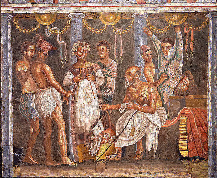 Roman mosaic of actors from the Casa del Poet Tragic (VI 8, 3,) Pompeii, inv 9986. Naples Archaeological Musum, Italy
