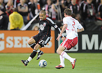 DC United midfielder Fred (27) goes against New York Red Bulls midfielder Teemu Tainio (2).  The New York Red Bulls defeated DC United 4-0, at RFK Stadium, Thursday April 21, 2011.