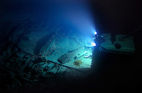 The ROV hovers over the wreck at 170 meters below the surface. &copy;Fredrik Naumann/Felix Features