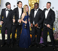 HOLLYWOOD, LOS ANGELES, CA, USA - MARCH 02: Anthony Katagas, Jeremy Kleiner, Dede Gardner, Steve McQueen, Brad Pitt at the 86th Annual Academy Awards - Press Room held at Dolby Theatre on March 2, 2014 in Hollywood, Los Angeles, California, United States. (Photo by Xavier Collin/Celebrity Monitor)