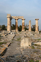 CORINTH, GREECE - APRIL 16 : A general view of the Temple of Apollo, on April 16, 2007 in Corinth, Greece. Standing prominently on a knoll the Temple of Apollo was built in the 7th century BC in the Doric Order. Seven of its original 38 columns remain standing and are seen here in the early morning light. It is one of the oldest temples in Greece. Corinth, founded in Neolithic times, was a major Ancient Greek city, until it was razed by the Romans in 146 BC. Rebuilt a century later it was destroyed by an earthquake in Byzantine times. (Photo by Manuel Cohen)