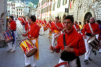 Gubbio 15 MAY 2006..Festival of the Ceri..The drummers ....http://www.ceri.it/ceri_eng/index.htm..