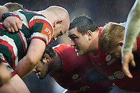 Jamie George of Saracens looks on at a scrum. Aviva Premiership match, between Leicester Tigers and Saracens on January 1, 2017 at Welford Road in Leicester, England. Photo by: Patrick Khachfe / JMP