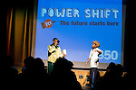 Ian Solomon-Kawall, hip hop instructor, speaks to the crowd during the opening of Powershift. The UKYCC PowerShift Conference, held on Oct. 9-12, brought together over 250 young people from across the United Kingdom and the world to discuss climate change. The conference taught them how to  organize, build a social movement and take creative and intelligent action to tackle the climate crisis. Institute of Education, London, United Kingdom (2009 ©Robert vanWaarden)