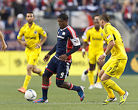New England Revolution forward Jose Moreno (9) at midfield. In a Major League Soccer (MLS) match, the New England Revolution tied the Columbus Crew, 0-0, at Gillette Stadium on June 16, 2012.