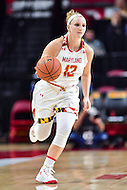 College Park, MD - NOV 16, 2016: Maryland Terrapins guard Kristen Confroy (12) brings the ball up court during game between Maryland and Maryland Eastern Shore Lady Hawks at XFINITY Center in College Park, MD. The Terps defeated the Lady Hawks 106-61. (Photo by Phil Peters/Media Images International)