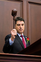 TALLAHASSEE, FLA. 1/12/16-House Speaker Steve Crisafulli, R-Merritt Island, signals the start of the 2016 legislative session with his gavel, Tuesday at the Capitol in Tallahassee.<br /> <br /> COLIN HACKLEY PHOTO