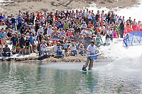 """Cushing Classic at Squaw Valley 1"" - Photograph of a skier crossing a pond during the Cushing Classic at Squaw Valley, USA."