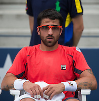 Janko Tipsarevic..Tennis - US Open - Grand Slam -  New York 2012 -  Flushing Meadows - New York - USA - Wednesday 5th September  2012. .© AMN Images, 30, Cleveland Street, London, W1T 4JD.Tel - +44 20 7907 6387.mfrey@advantagemedianet.com.www.amnimages.photoshelter.com.www.advantagemedianet.com.www.tennishead.net