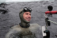 Winner of freediving competition Oslo Ice Challenge, Guillame Néry,  at freshwater lake Lutvann, outside the Norwegian capital Oslo. Atheletes, including current and former world champions, entered a hole in the ice to compete. The participants reached depths down to 52 meters below the surface.