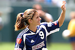 27 June 2004: Mia Hamm smiles and waives to the fans. The San Diego Spirit defeated the Carolina Courage 2-1 at the Home Depot Center in Carson, CA in Womens United Soccer Association soccer game featuring guest players from other teams.