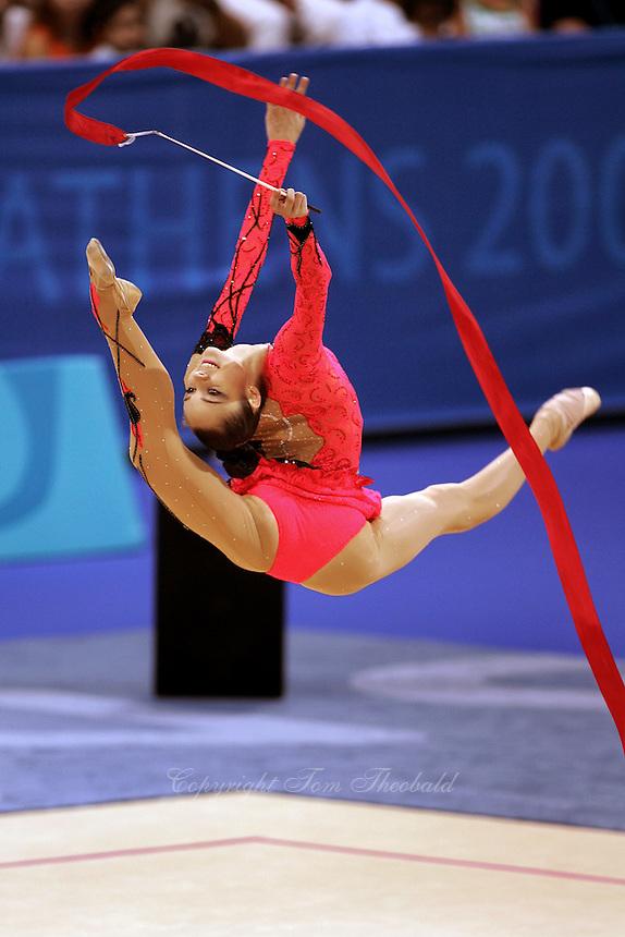 August 29, 2004; Athens, Greece; Rhythmic gymnastics star ANNA BESSONOVA of Ukraine wins bronze in All-Around at 2004 Athens Olympics.<br /> Copyright 2004 Tom Theobald