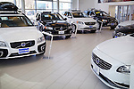 Volvo cars inside a dealership. Toronto, Canada.