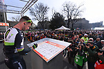 Mark Cavendish (GBR) Team Dimension Data at sign on before the start of the 108th edition of Milan-San Remo 2017 by NamedSport the first Classic Monument of the season running 291km from Milan to San Remo, Italy. 18th March 2017.<br /> Picture: La Presse/Gian Mattia D'Alberto | Cyclefile<br /> <br /> <br /> All photos usage must carry mandatory copyright credit (&copy; Cyclefile | La Presse)