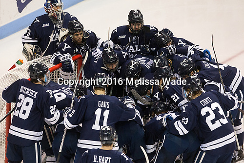 The Boston University Terriers defeated the visiting Yale University Bulldogs 5-2 on Tuesday, December 13, 2016, at the Agganis Arena in Boston, Massachusetts.