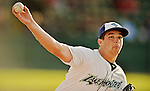 19 July 2012: Vermont Lake Monsters pitcher Tyler Vail warms up prior to a game against the Tri-City ValleyCats at Centennial Field in Burlington, Vermont. The ValleyCats defeated the Lake Monsters 6-3 in NY Penn League action. Mandatory Credit: Ed Wolfstein Photo
