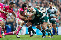 Greg Bateman of Leicester Tigers takes on the Stade Francais defence with support from team-mate Brendon O'Connor. European Rugby Champions Cup quarter final, between Leicester Tigers and Stade Francais on April 10, 2016 at Welford Road in Leicester, England. Photo by: Patrick Khachfe / JMP