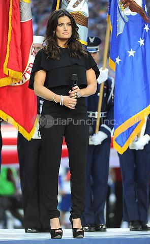 GLENDALE, ARIZONA -  FEBRUARY 1: Idina Menzel performs the National Anthem on the Super Bowl XLIX Pregame Show at University of Phoenix Stadium on February 1, 2015 in Glendale, Arizona. FMPG/MediaPunch