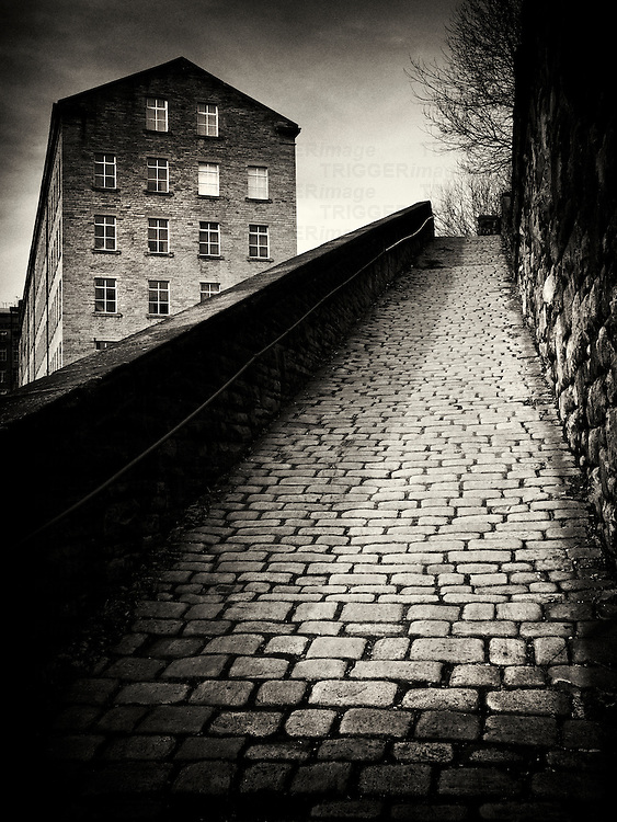 Cobbled street, Snicket, Halifax, UK
