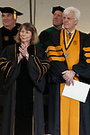 May 19, 2014. Winston Salem, North Carolina.<br />  Abramson was introduced by Bloomberg news reporter, Al Hunt, at right.<br />  Former New York Times Executive Editor Jill Abramson gave the commencement address and handed diplomas to graduating students at Wake Forest University.