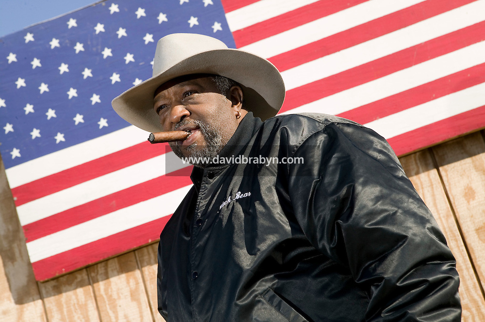 2 December 2006 - New York City, NY - Cliff Johnson, aka Black Bear, a member of the Federation of Black Cowboys, poses for the photographer at the Cedar Lanes stables in the borough of Queens in New York City, USA, 2 December 2006. The Federation gathers black men and women who recreate the heritage of black cowboys, teach kids to ride and put on 'rodeo showdeos'.