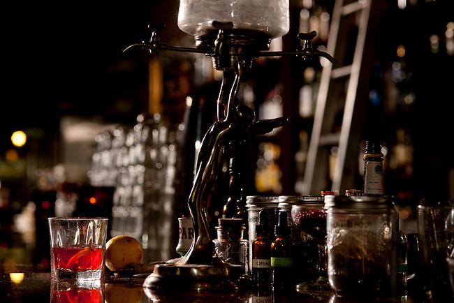 Sazerac with Absinthe Fountain. Beverage specialties created by the ...