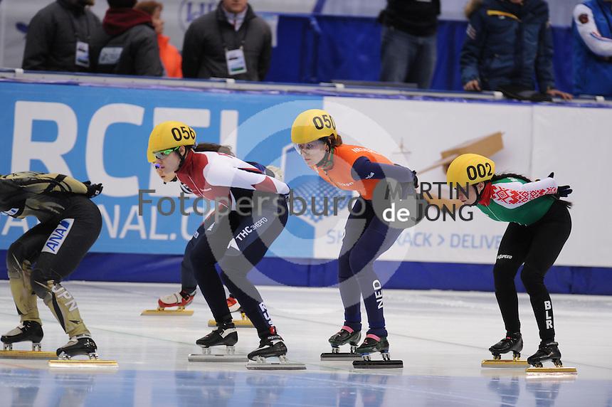 "SHORT TRACK: MOSCOW: Speed Skating Centre ""Krylatskoe"", 13-03-2015, ISU World Short Track Speed Skating Championships 2015, Sofia PROSVIRNOVA (#056 | RUS), Rianne DE VRIES (#050 | NED), Natallia TSAULIKA (#002 | BLR), ©photo Martin de Jong"