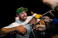 NEW ZEALAND, Auckland. 10th March 2012. Volvo Ocean Race Leg 4. Groupama arrivial. Brad Marsh.