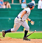 18 July 2010: Staten Island Yankees infielder Kevin Mahoney in action against the Vermont Lake Monsters at Centennial Field in Burlington, Vermont. The Lake Monsters fell to the Yankees 9-5 in NY Penn League action. Mandatory Credit: Ed Wolfstein Photo