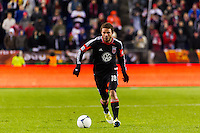 Nick DeLeon (18) of D. C. United. D. C. United defeated the New York Red Bulls 1-0 (2-1 in aggregate) during the second leg of the MLS Eastern Conference Semifinals at Red Bull Arena in Harrison, NJ, on November 8, 2012.