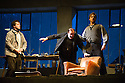 London, UK. 27.10.2014. Jonathan Miller's production, for English National Opera, of LA BOHEME, by Giacomo Puccini, opens at the London Coliseum. Rising star soprano, Angel Blue, makes her role debut as Mimi. Picture shows:  George von Bergen (Marcello), Andrew Shore (Benoit), George Humphreys (Schaunard). Photograph © Jane Hobson.