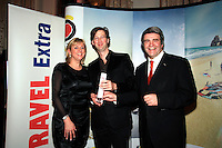 NO REPRO FEE: 27.1.12: Travel Extra Travel Journalist of the Year Awards Announced In Dublin. Pictured was Fiona Bolger from Sunway Holidays and Eoghan Corry, Editor of Travel Extra presenting 'Long haul' category winner to Manchán Magan from The Irish Times (centred). Picture Collins Photos.