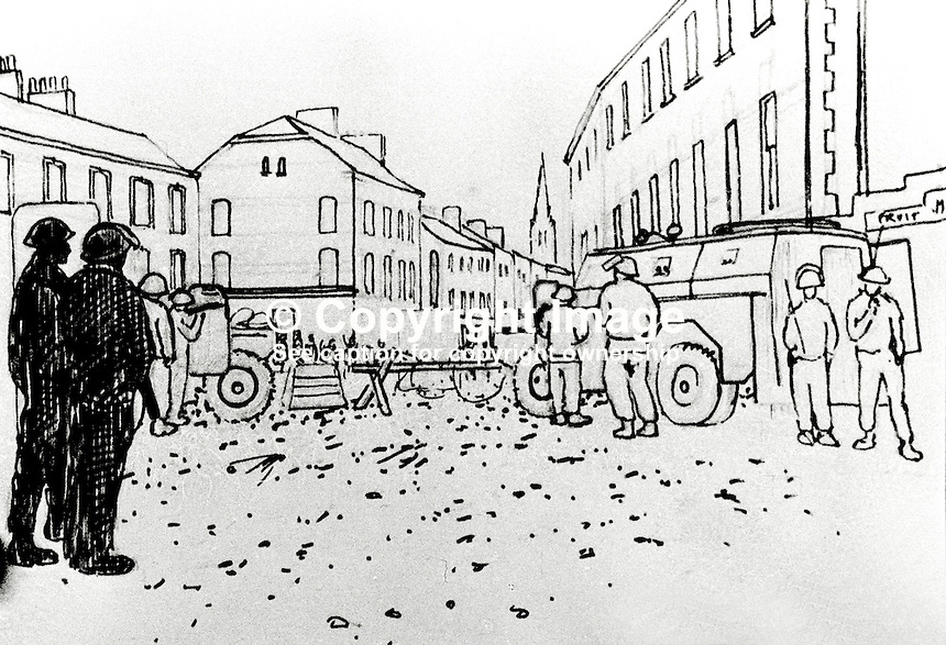 One of the sketches on which Major Chris Miers, serving with the Royal Green Jackets in Belfast, N Ireland bases his paintings. Miers is the British Army's official war artist. 197211200731a..Copyright Image from Victor Patterson, 54 Dorchester Park, Belfast, UK, BT9 6RJ..Tel: +44 28 9066 1296.Mob: +44 7802 353836.Voicemail +44 20 8816 7153.Skype: victorpattersonbelfast.Email: victorpatterson@me.com.Email: victorpatterson@ireland.com (back-up)..IMPORTANT: If you wish to use this image or any other of my images please go to www.victorpatterson.com and click on the Terms & Conditions. Then contact me by email or phone with the reference number(s) of the image(s) concerned.