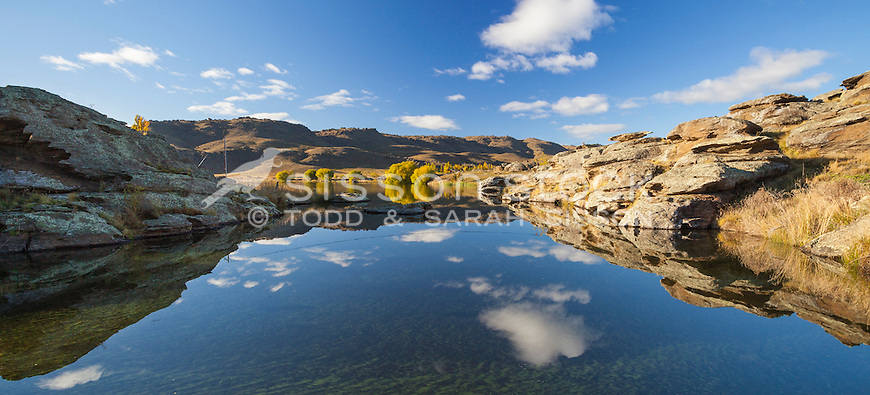 A perfect autumn morning reflection at Butchers Dam near Alexandra, Central Otago,New Zealand - stock photo, canvas, fine art print