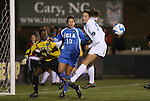 05 December 2008: North Carolina's Courtney Jones (84) and UCLA's Lauren Wilmoth (10) and Ashley Thompson (17). The University of North Carolina Tar Heels defeated the University of California Los Angeles Bruins 1-0 at WakeMed Soccer Park in Cary, NC in an NCAA Division I Women's College Cup semifinal game.