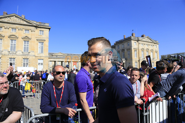 Zdenek &Scaron;tybar (CZE) Quick-Step Floors at the Team Presentation for the upcoming 115th edition of the Paris-Roubaix 2017 race held in Compiegne, France. 8th April 2017.<br /> Picture: Eoin Clarke | Cyclefile<br /> <br /> <br /> All photos usage must carry mandatory copyright credit (&copy; Cyclefile | Eoin Clarke)