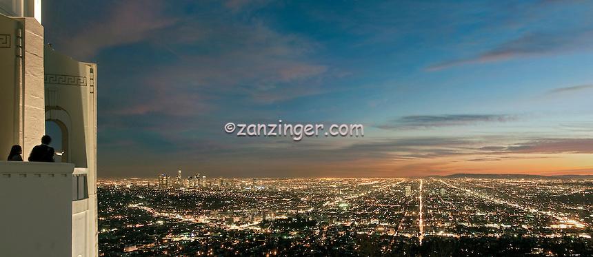 Los Angeles, CA, Cityscape,  L.A. Skyline, Fiery,  Sunset, Night, Dusk, lit, lights on, beautiful, View